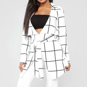 Fashion Nova White Plaid Jacket L NWT